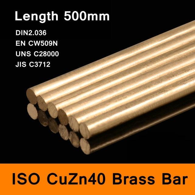 Brass Bar Round of ISO CuZn40 DIN2.036 EN CW509N UNS C28000 JIS C3712 Mould DIY Material Length 500mm Diameter Size 8-50mm