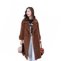 2018 Fashion Long Winter Coat Women High Quality Wool Fur Coat Solid Color Elegant Long Natural Fur Jacket Warm Lining Overcoat