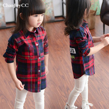 Spring autumn New fashion hot sale children girl long sleeve Letters  shirt jacket cotton100% plaid  shirt