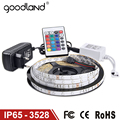 Goodland Waterproof LED RGB strip light SMD3528 IP65 Fiexble Light 60LED/M 5M DC 12V Adapter Power 2A RGB strip lamp bulb