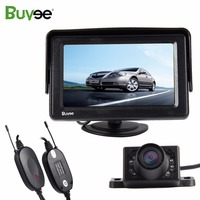 Buyee Wireless Truck Parking 4.3 inch car rearview monitor with Vehicle cam Rear view reverse camera IR Night Vision Waterproof