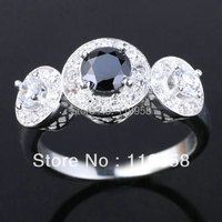 Women S 3 Stone Design Black Onyx Authentic Promise 925 Sterling Silver Ring NAL R074 Sz