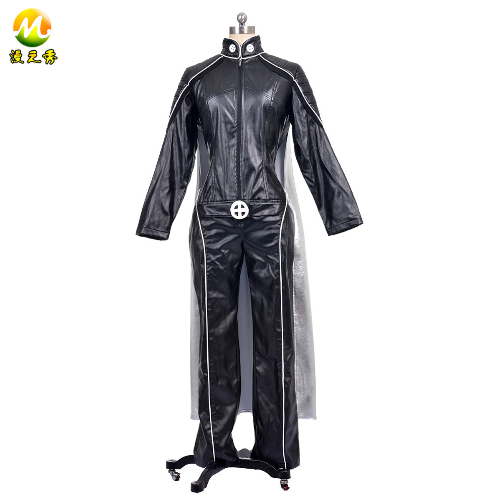Halloween  X-Men Storm Cosplay Ororo Munroe Cosplay Costumes Jumpsuits Women PU Leather Jumpsuits+Golves