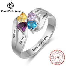 купить Personalized Heart Birthstone Flower Ring Real 925 Sterling Silver Customized Engraved Name Ring Gift for Family (Lam Hub Fong) по цене 1979.28 рублей