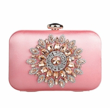 Sonne Blume Diamant Abendtaschen Silk Frauen Kupplung Große Hochzeit Braut Abendtasche mit Strass Vintage Tasche XA14D