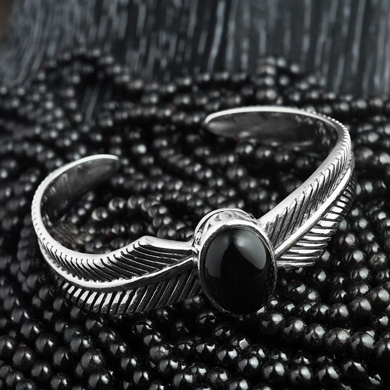 08c10bd72097 V. YA Vintage 925 Plata pulsera y brazalete para hombres ajustable ...