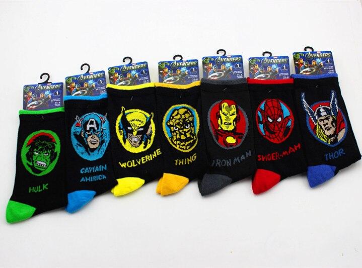 men-socks-font-b-marvel-b-font-comics-cartoon-spiderman-iron-man-knee-high-socks-captain-america-thor-the-hulk-thing-casual-crew-socks