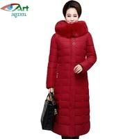 JQNZHNL Mid Aged Women Parkas Medium Long Fur Hooded Cotton Jacket Coat 2017 New Winter Thicken
