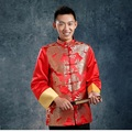 Dragon pattern chinese traditional men clothing Chinese male costume red wedding dresses vintage plate buttons 2017 autumn