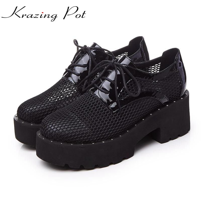 Shoes women fashion round toe platform cut outs thick heels classic lace up runway pumps brand wedding sexy casual shoes L01 big size high heels round toe women platform shoes cool casual white lace wedge black creepers medium pumps mesh chinese fashion