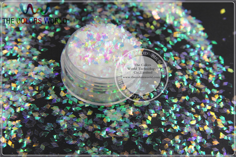 Diamond Shape 2MM size Iridescent white with colorful light Color glitter sparklesfor Nail Art and DIY supplies1pack=50g