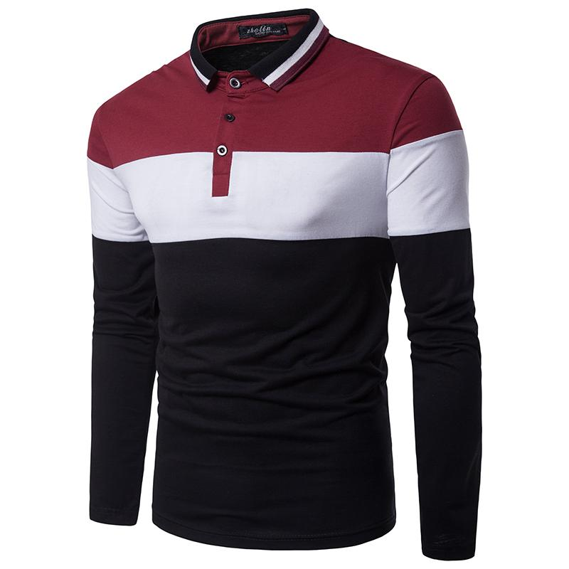 Men's   Polo   Shirt Casual Long-sleeved Fashion Color stitching Neckline   Polo   Shirt Men Clothing Tops Tees