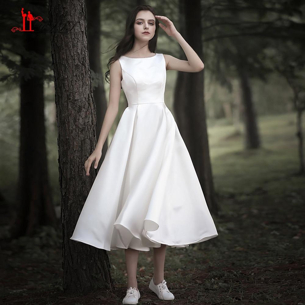 LIYATT 2019 Wedding Dress Simple Tea Length Ivory Zipper