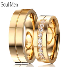 Soul Men 1 Pair Lover's Gold Color Engagement Ring with 9 CZ for Ladies 6mm Simple Wedding Ring Set for Male Alliance in Brasil