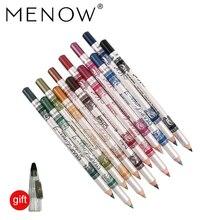 MENOW 12PCS/PACK 2 in 1 Eyeliner 12 Colors Lip Pencil Long-l