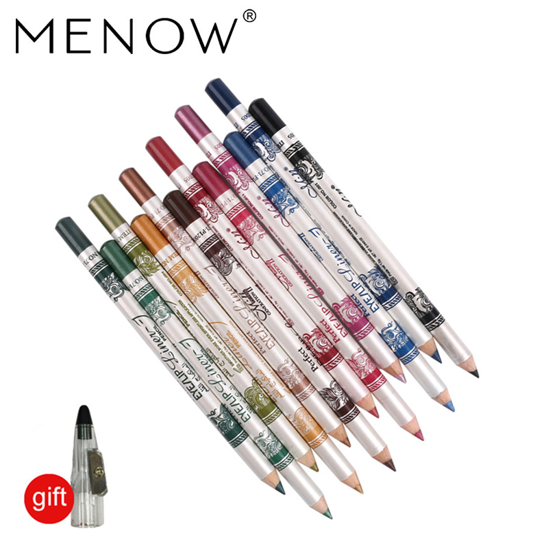 MENOW 12PCS/PACK 2 in 1 Eyeliner 12 Colors Lip Pencil Long-lasting Waterproof Makeup Cosmetic Set Eye Liner HOT SALE P12005