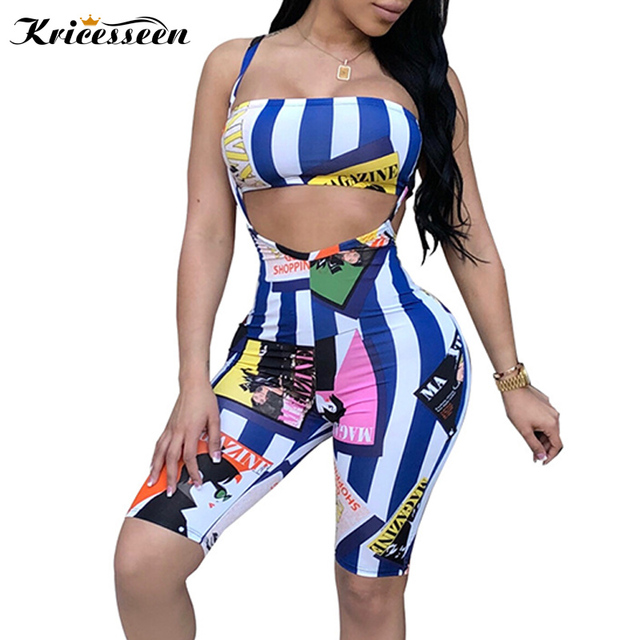 ad63b0fc296 Kricesseen 2 Two Piece Set Women 2018 Summer Strapless Crop Top And Pants  Short Suit Tracksuit Sexy Bodycon Romper Plus Size