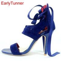 2017 Brand New Sexy Bleu Violet Femmes Sandales Rouge Rome Gladiateur haute Talon Dame Slingback Chaussures EYS2-1, Plus Grande Taille 11 31 45