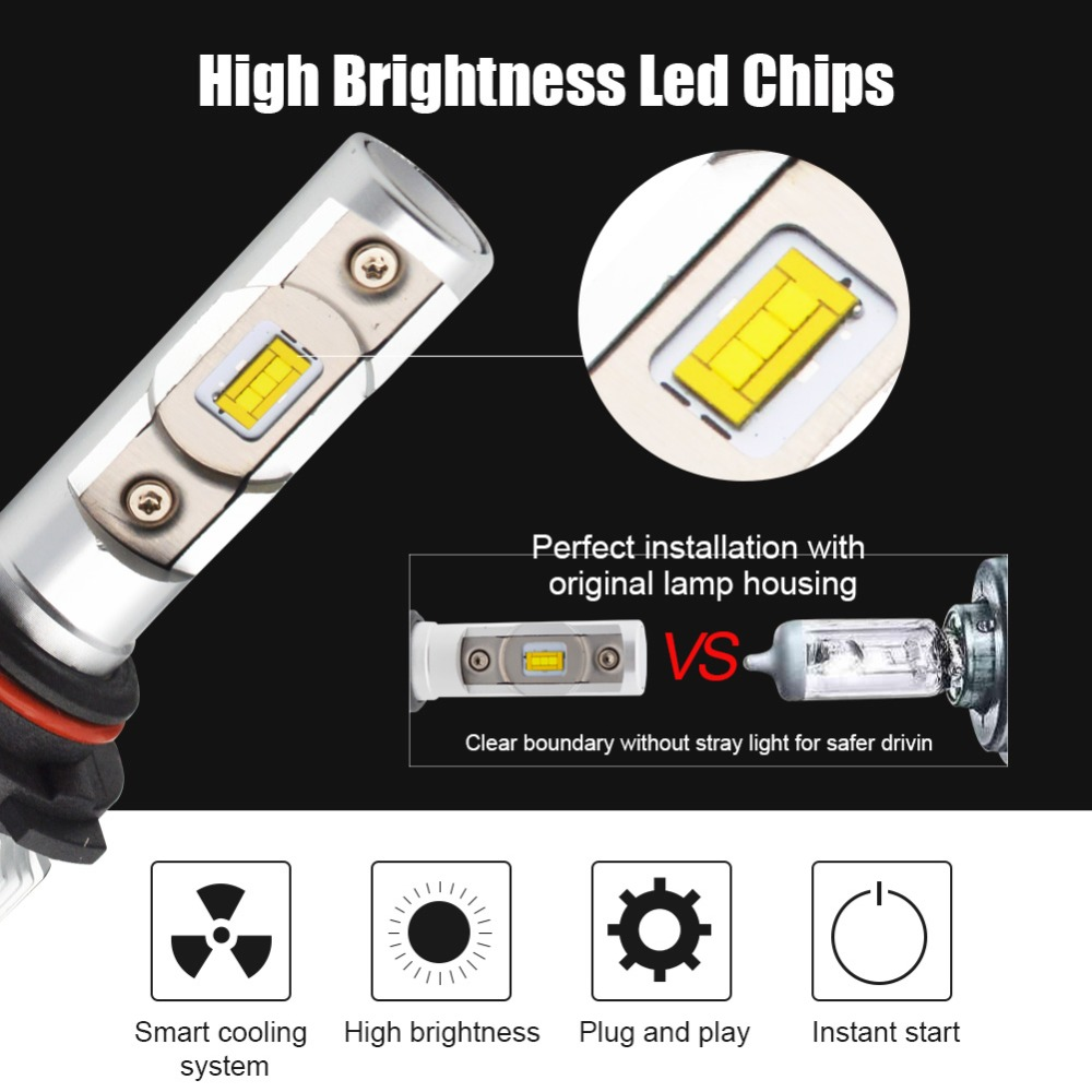 Image 4 - H4 Hi Lo Beam H7 H8 H9 H11 9005 9006 HB3 HB4 LED Car Headlight Bulbs Conversion Kit 70W 6000lm CSP Chips 6000K Auto Headlamp 12V-in Car Headlight Bulbs(LED) from Automobiles & Motorcycles
