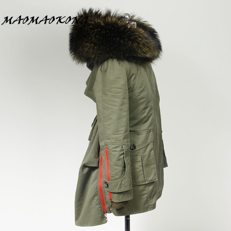 2017 New Autumn Winter Coats Women Jackets Long Real Large Raccoon Fur Collar Thick Fur Liner Ladies Outwear Army Green Black