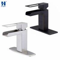 Hongdec 304 Stainless Steel Bathroom Basin Faucet Deck Mounted Waterfall Basin Mixer Tap