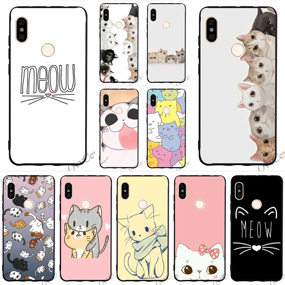 Colorful GINGER PIZZA bowknot cat kawaii Phone Cover for Xiaomi Redmi 5 Plus Case 4A 4X 5A Prime 6A Note 6 Pro Shell