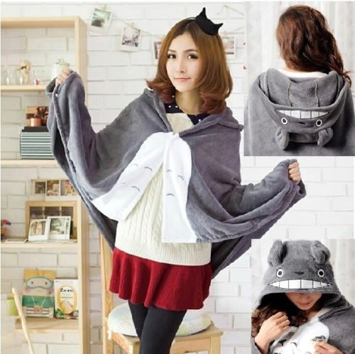 Candice guo! Hot sale new style shawl creative dual-purpose blanket Cloak gray totoro galesaur shape good for gift 1pc good quality luo han guo extractsiraitia grosvenorii extractmonk fruit sweetener 10 1 600g