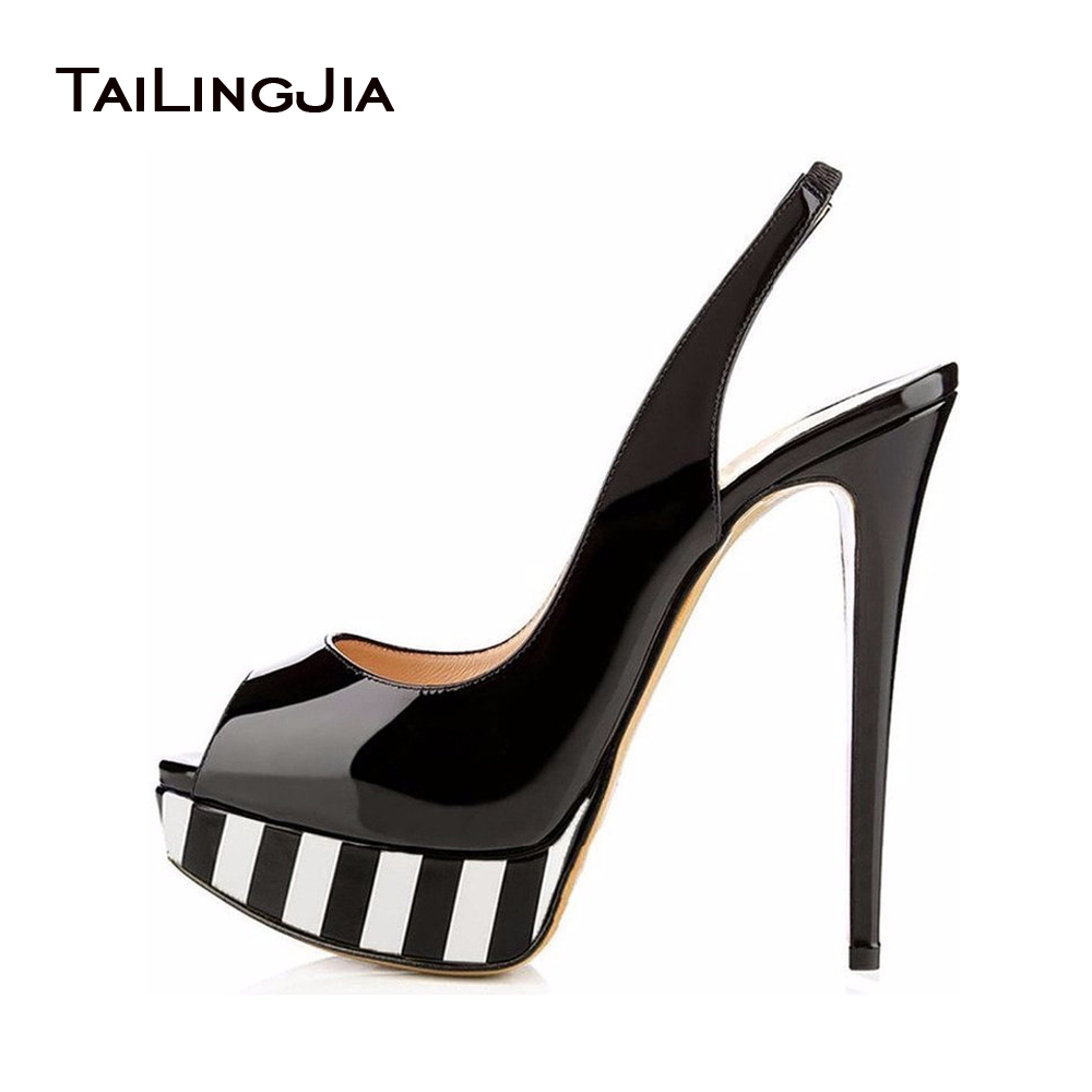 Sexy Open Toe Slingback Heels For Women 2017 Patent Platform Heels Peep Toe Slip On Pumps Lady Peep Sling Shoes Plus Size 46 EU 2017 shoes women med heels tassel slip on women pumps solid round toe high quality loafers preppy style lady casual shoes 17