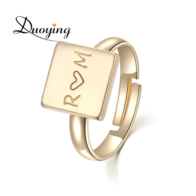 DUOYING Square Love Engraved Ring Customized Service Infinity Cuff Open Simple Birthday Promise Gift For