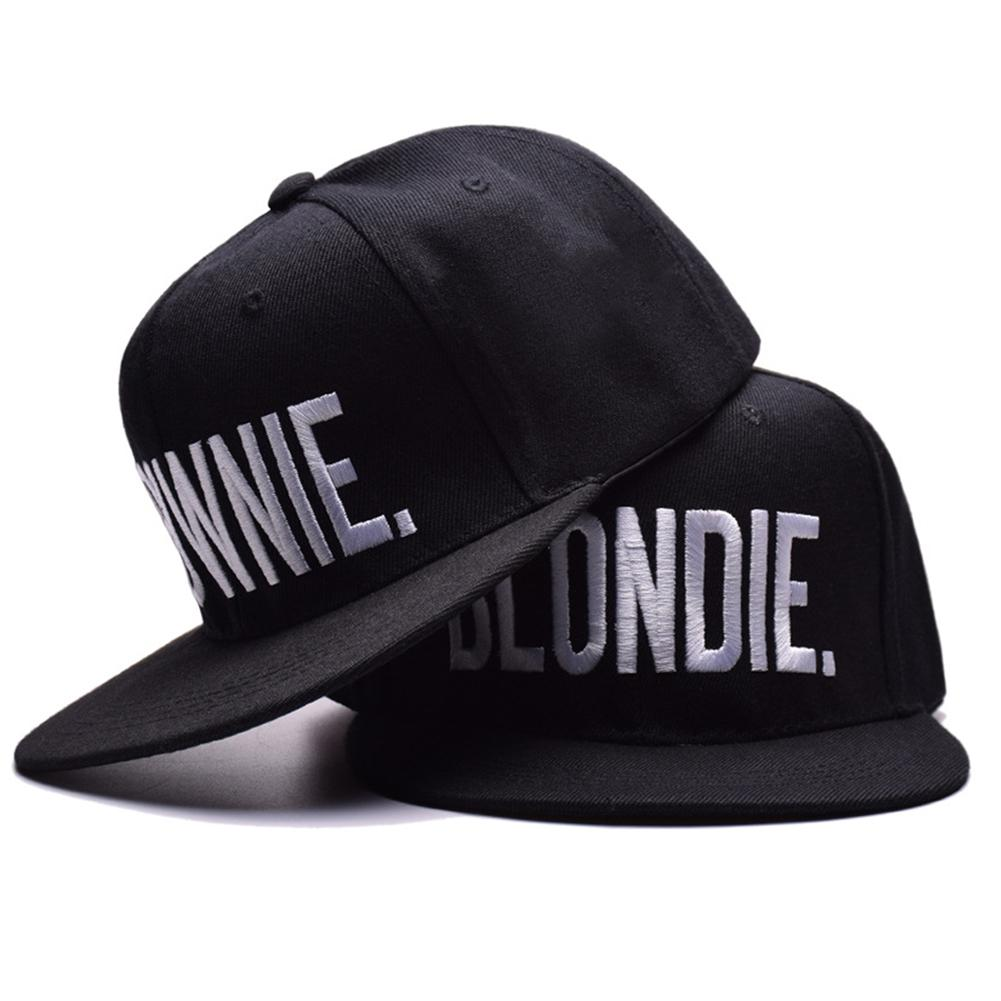 Fashion Hip-Hop BLONDIE Brownie Letter Embroidery Flat-Eave Hat Adjustable Solid Black Wine Red Caps For Lovers SAN0