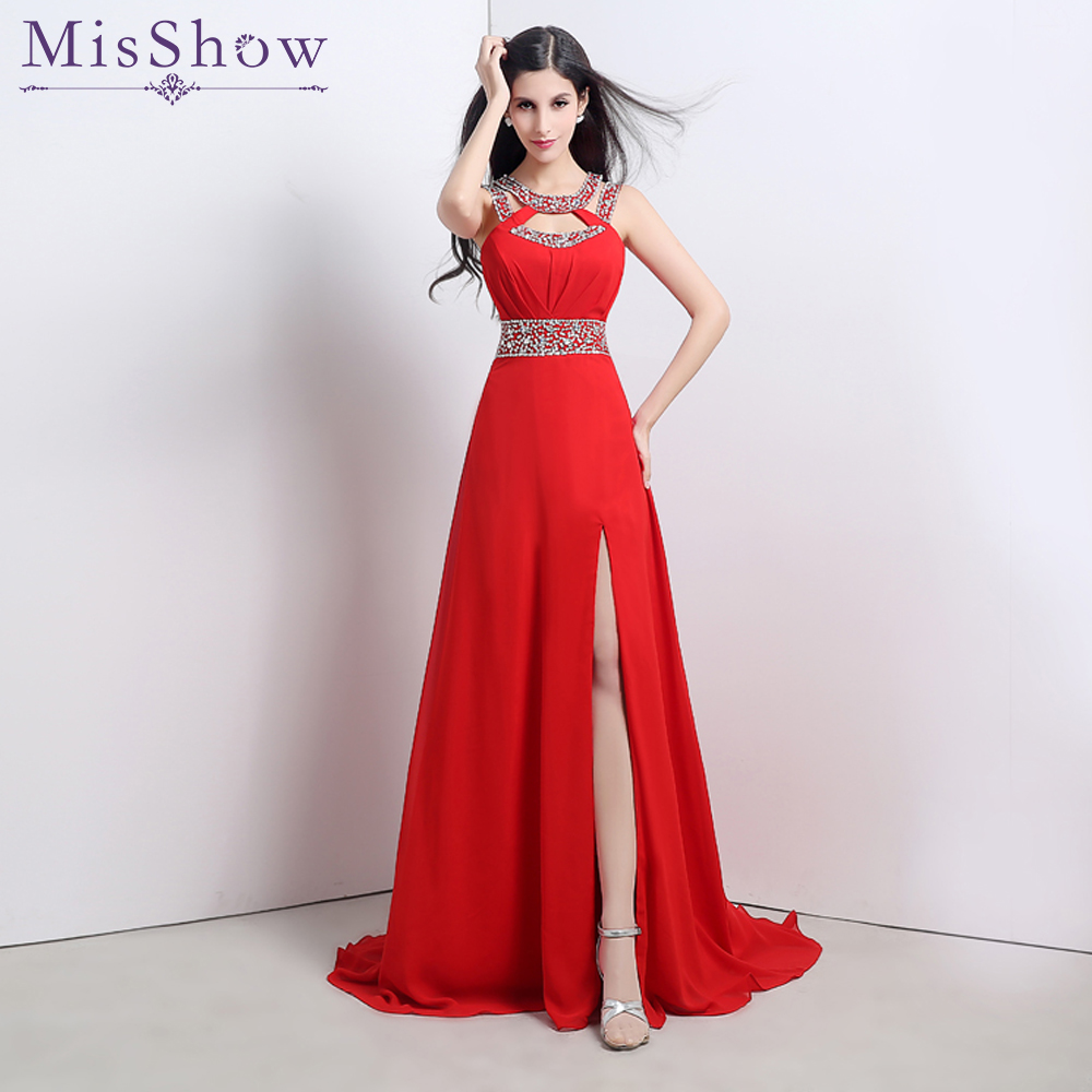 Fast ship In stock Formal   Evening     Dresses   Sexy Backless Red Royal Blue high split   Evening     Dress   2019 Long Chiffon   Evening   Gowns