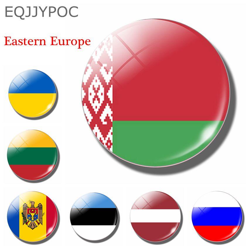 Belarus 30mm glass Fridge Magnet Eastern European National flag Estonia Latvia Lithuania Russia Ukraine Moldova Magnetic Sticker