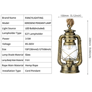 Image 5 - Vintage Kerosene Pendant Lamp With Free Bulb E27 Hemp Rope Hanging Lamp for Home/Bedroom/Living room Industrial Pendant Lights