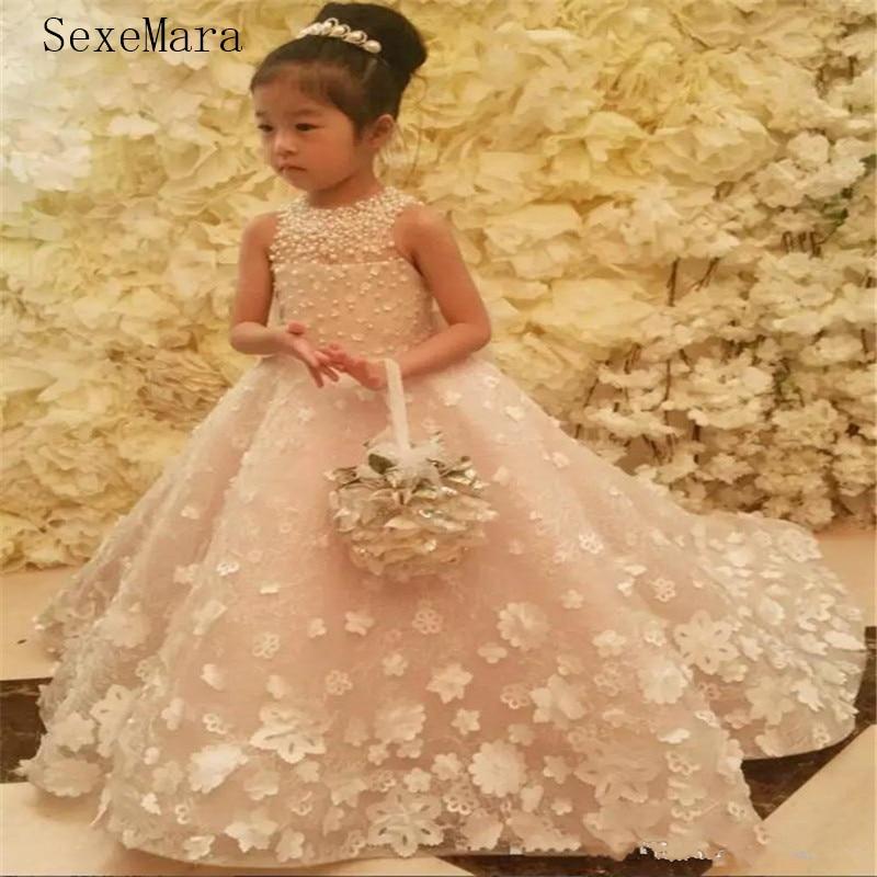 Cute   Flower     Girl     Dress   with Handmade   Flower   Bow Belt Beading Princess Kids Floor Length Ball Gown For Pageant