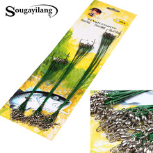 Sougayilang Steel Wire Leader Swivel Tackle Spinner Shark Fishing Line Spinning Expert 15cm/ 21cm/30cm 60pcs Fishing Tackle
