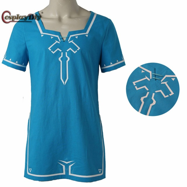 a4ae3a025 Cosplaydiy The Legend of Zelda Breath of the Wild Link T shirt game cosplay  Costume T-Shirt Halloween Blue T-shirt Custom Made