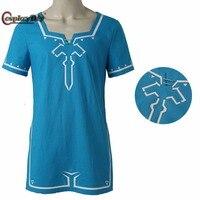 Cosplaydiy The Legend of Zelda Breath of the Wild Link T shirt game cosplay Costume T Shirt Halloween Blue T shirt Custom Made
