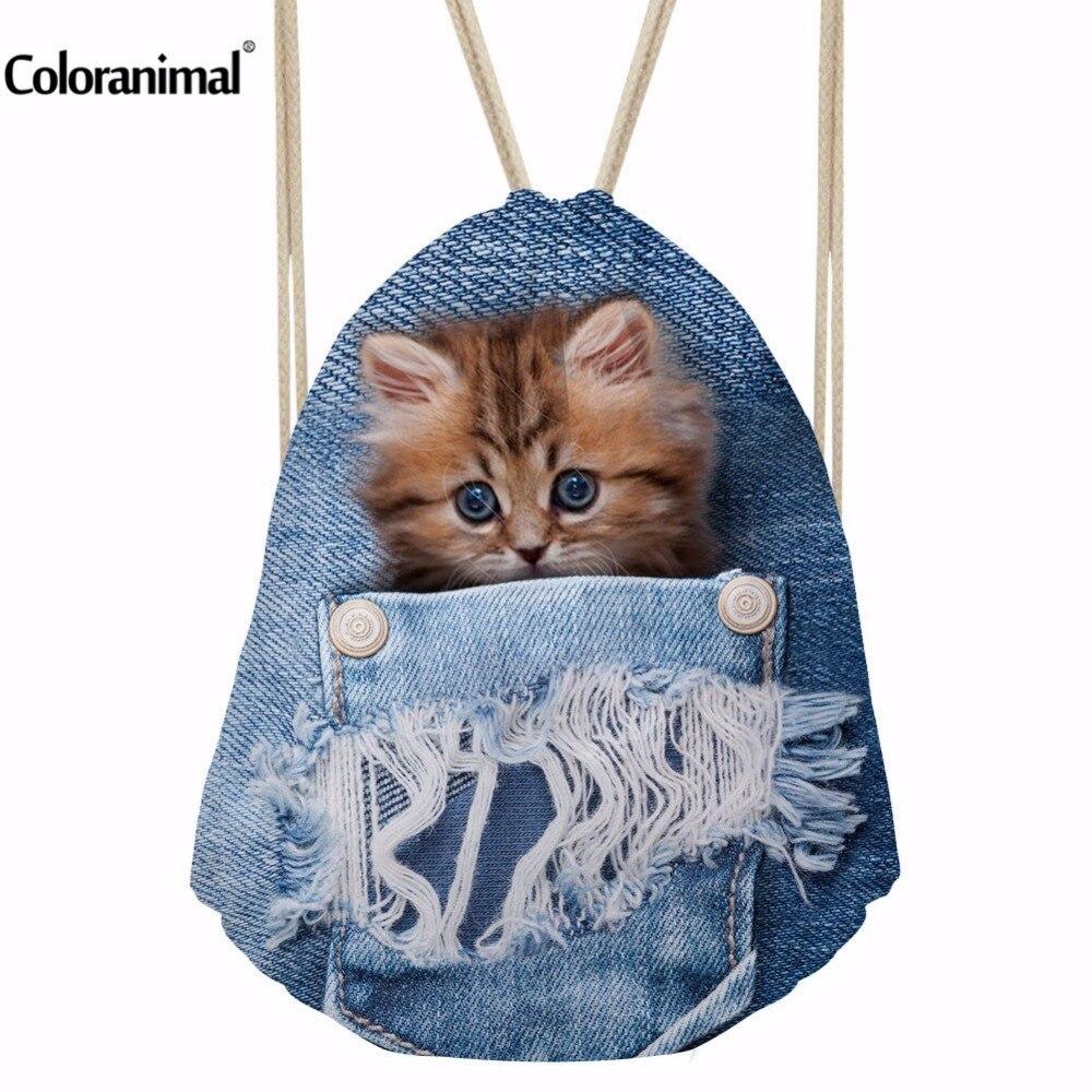 INSTANTARTS Sport Bag Gym Sack Blue Denim Cute Animal Cat Printing Drawsting Backpack For Children Boys Girls Women Fitness Bags