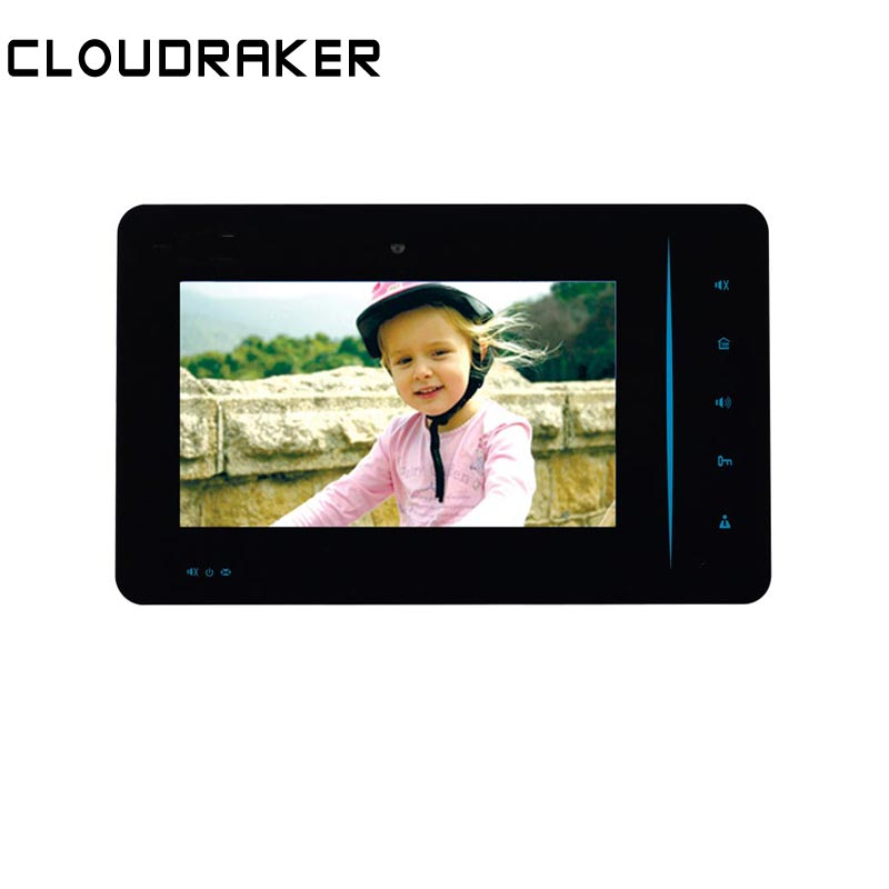 CLOUDRAKER 7 inch Indoor Monitor Video Door Phone Black Doorbell Intercom System  Unlock Memory Photo TakeCLOUDRAKER 7 inch Indoor Monitor Video Door Phone Black Doorbell Intercom System  Unlock Memory Photo Take