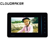 CLOUDRAKER 7 inch Indoor Monitor Video Door Phone Black Doorbell Intercom System  Unlock Memory Photo Take apartment wired video door phone audio visual intercom entry system 6 unit