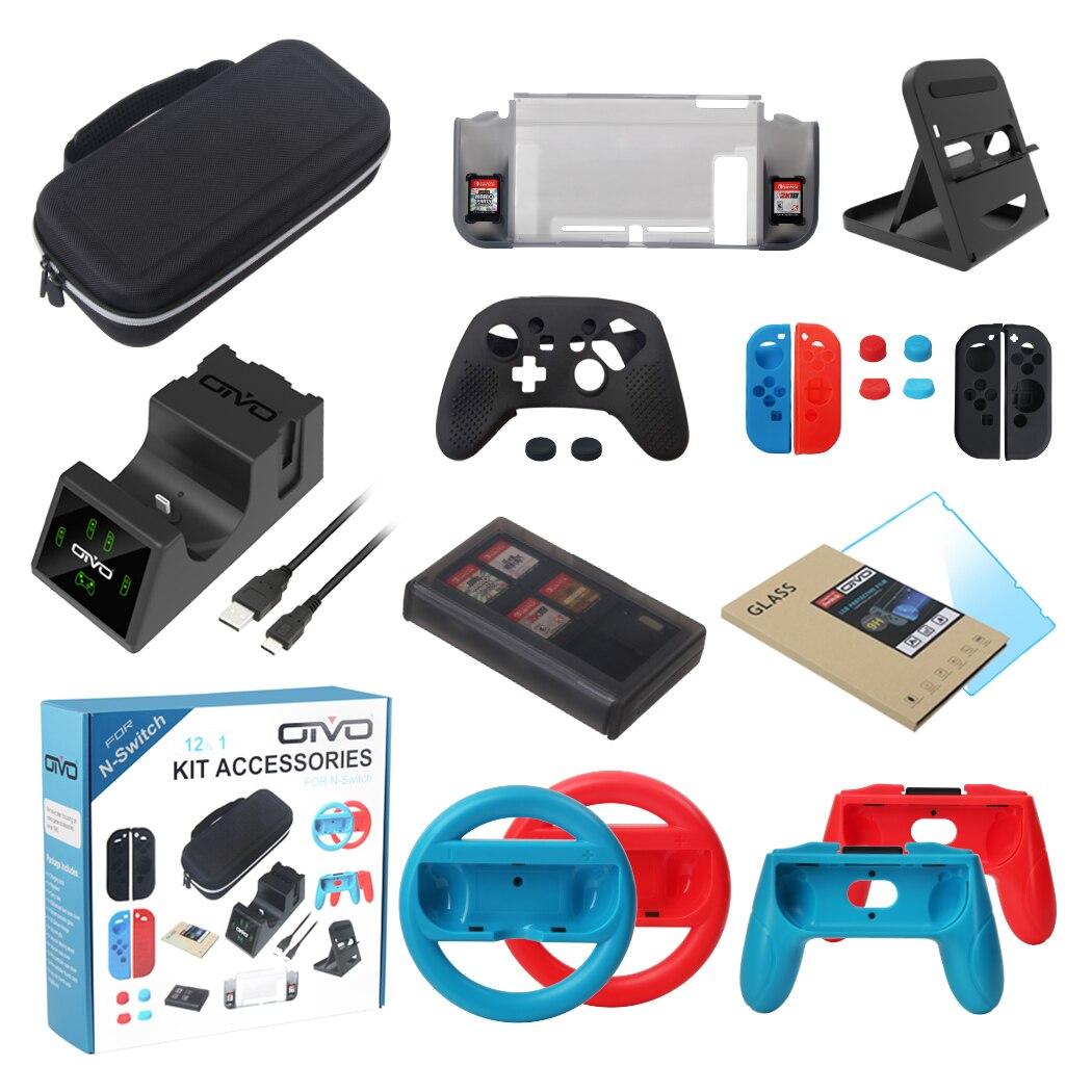 Kit d'accessoires de jeu OIVO pour contrôleur de commutateur ntint Dock de chargement sac de transport housse de Playstand étui Joy-Con roues stockage de cartes