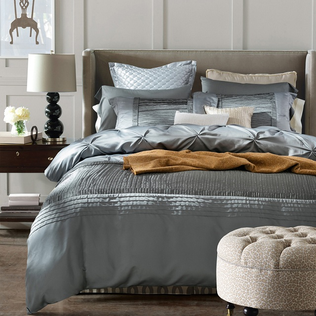 Luxury Silver Grey Bedding sets Designer Silk sheets bedspreads Queen size quilt duvet cover Cotton bed linen full King double