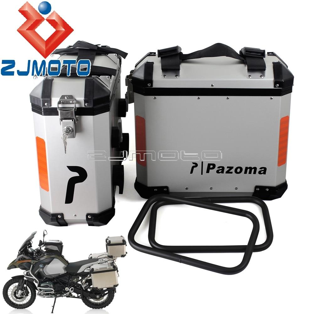 Aluminum Motorcycle Luggage Side Cases Saddlebag Rear Bag 36L Panniers Side Box For BMW Suzuki Yamaha