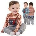 Anlencool новые случайные полосатый из двух частей костюм Дети детская одежда бесплатная доставка марка детские боди baby boy комплект одежды