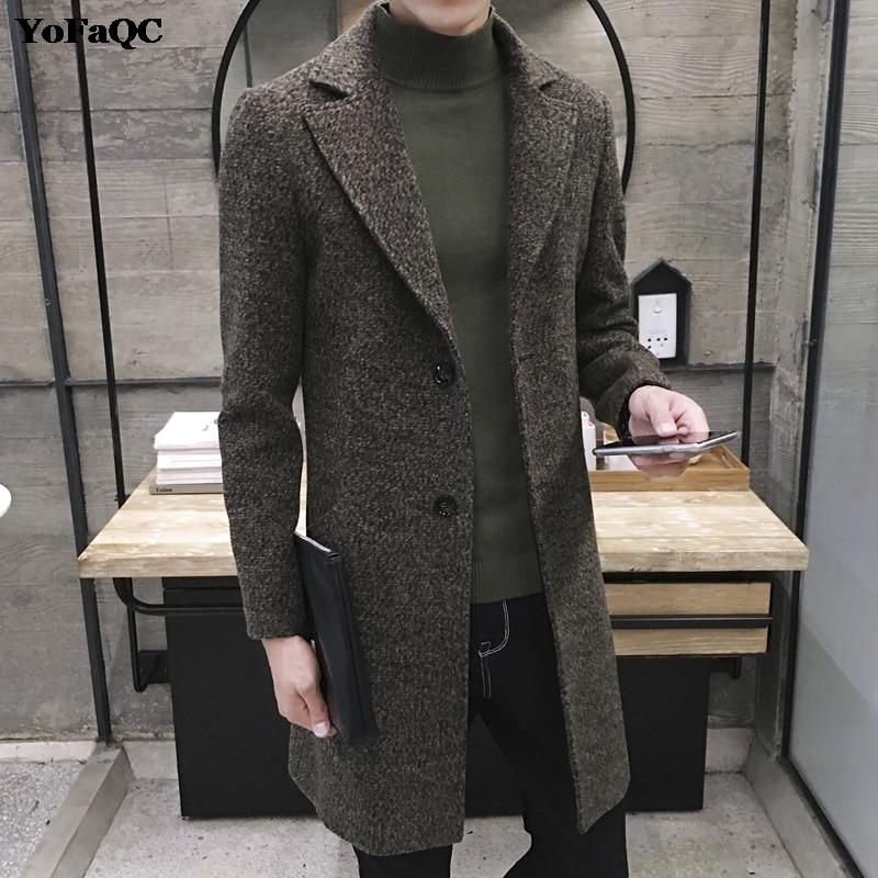 2017 New Mens Wool Coat Slim Fit Men Middle Long Coats And Jackets Solid Color Male Manteau Homme Overcoat Winter Woolen Coat