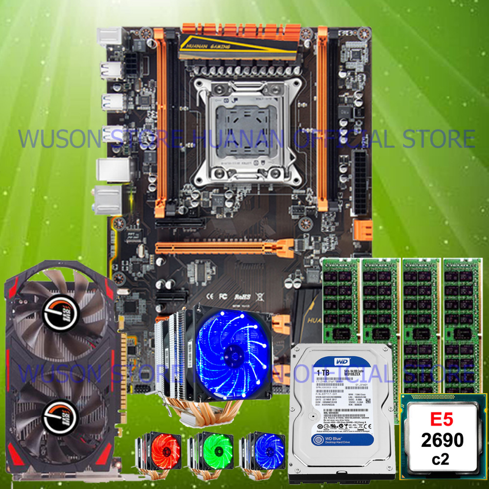 Hot HUANAN ZHI deluxe X79 motherboard with M.2 slot CPU <font><b>E5</b></font> <font><b>2690</b></font> C2 with cooler RAM 16G 1TB 3.5' SATA HDD video card GTX750Ti 2G image