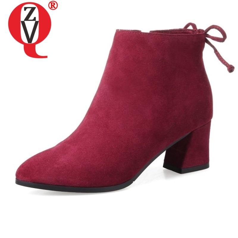 ZVQ แฟชั่นรองเท้าข้อเท้ารองเท้าผู้หญิง 6 สีฤดูหนาวรองเท้าส้นสูง real หนังนิ่มหนังผู้หญิง party รองเท้าผู้หญิงเดิน booties-ใน รองเท้าบูทหุ้มข้อ จาก รองเท้า บน AliExpress - 11.11_สิบเอ็ด สิบเอ็ดวันคนโสด 1