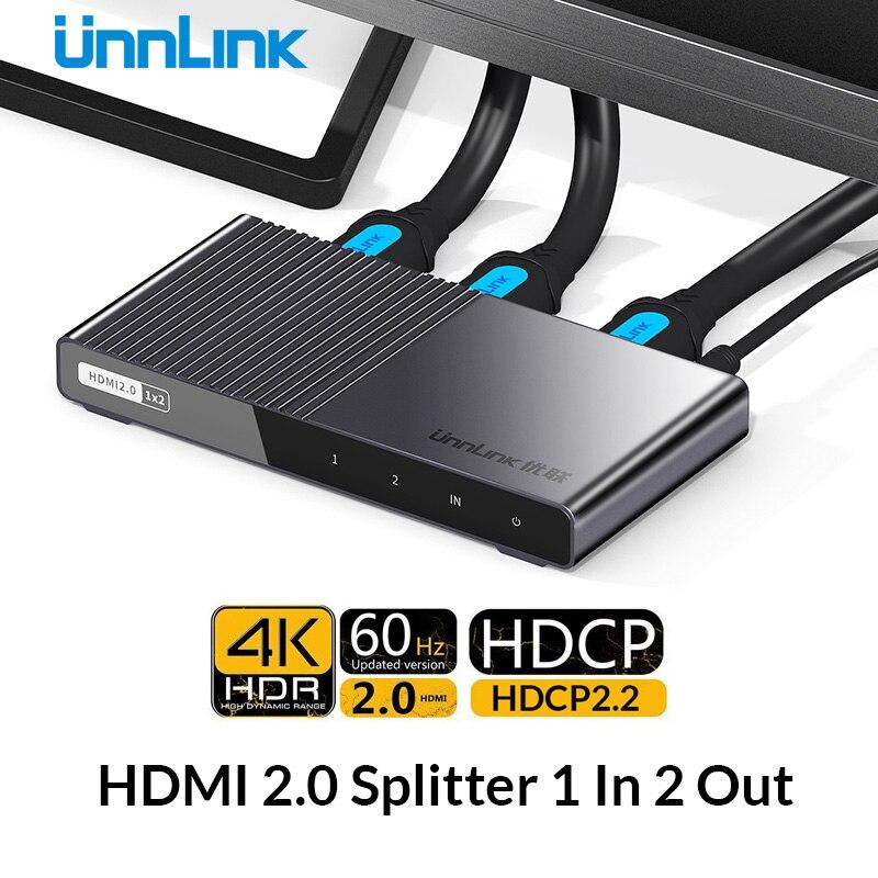 Unnlink HDMI Splitter 1X2 HDMI2 0 UHD 4K 60HZ 4 4 4 HDR HDCP 2 2
