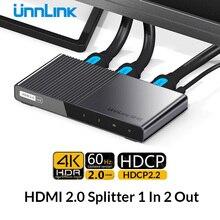Répartiteur HDMI Unnlink 1X2 HDMI2.0 UHD 4K @ 60HZ 4:4:4 HDR HDCP 2.2 18Gbp 3D pour LED Smart tv mi box ps4 xbox one switch projecteur