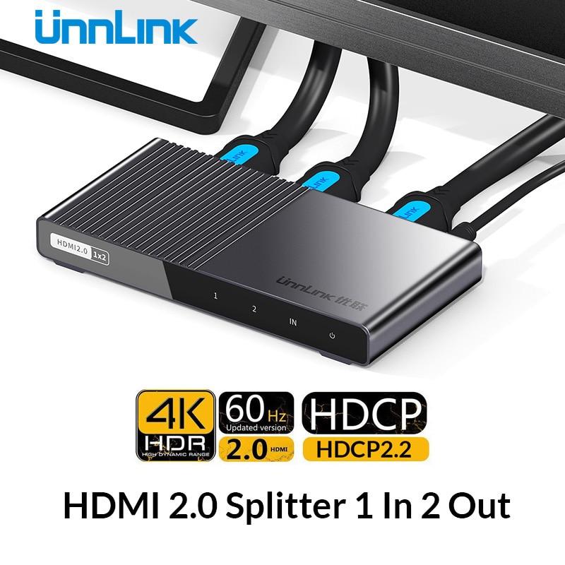 Unnlink HD mi séparateur 1X2 HD mi 2.0 UHD 4K @ 60 HZ 4:4:4 HDR HDCP 2.2 18Gbp 3D pour smart tv LED mi box ps4 xbox one projecteur